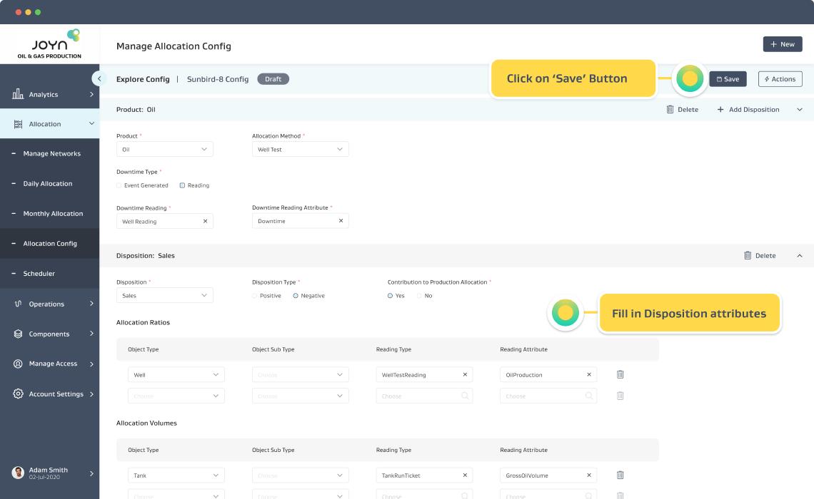 Create Allocation Config Screen