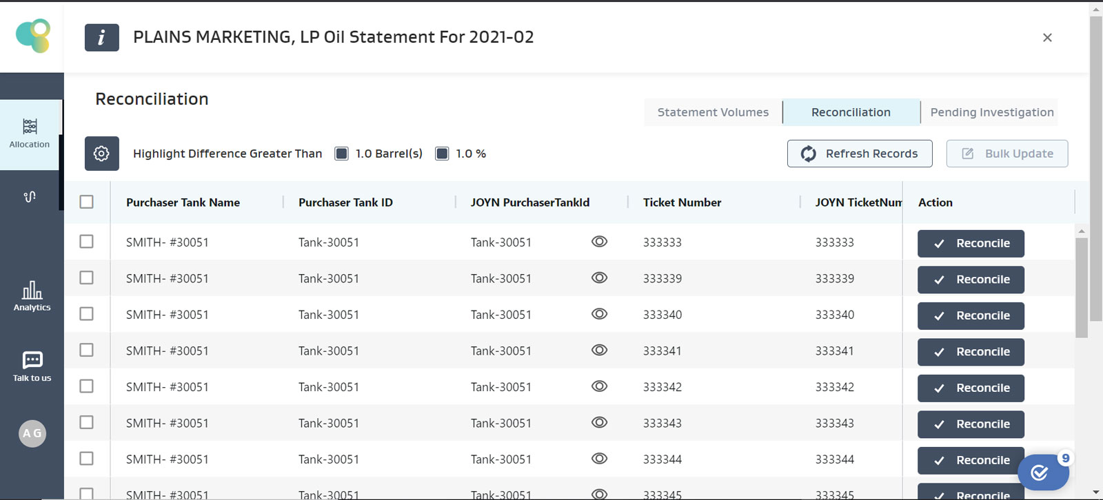 Reconcile Purchaser Oil statements