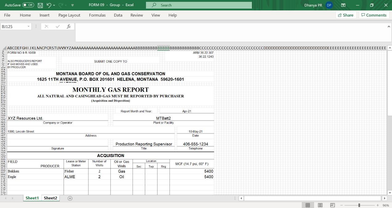 Form 09 Report for Montana