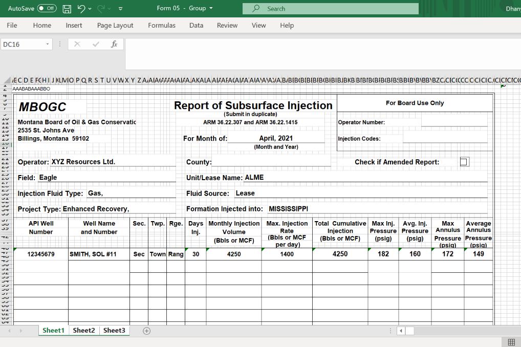 Form 05 Report for Montana