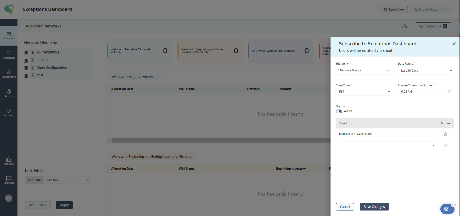 Activate Subscriptions to Exceptions Dashboard
