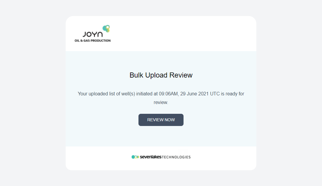 Well Upload Review Email