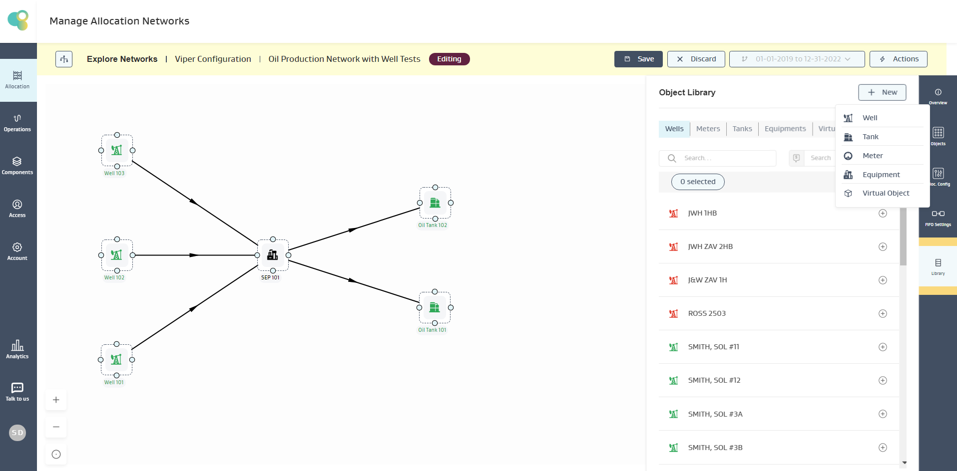Create a new asset while editing the allocation network