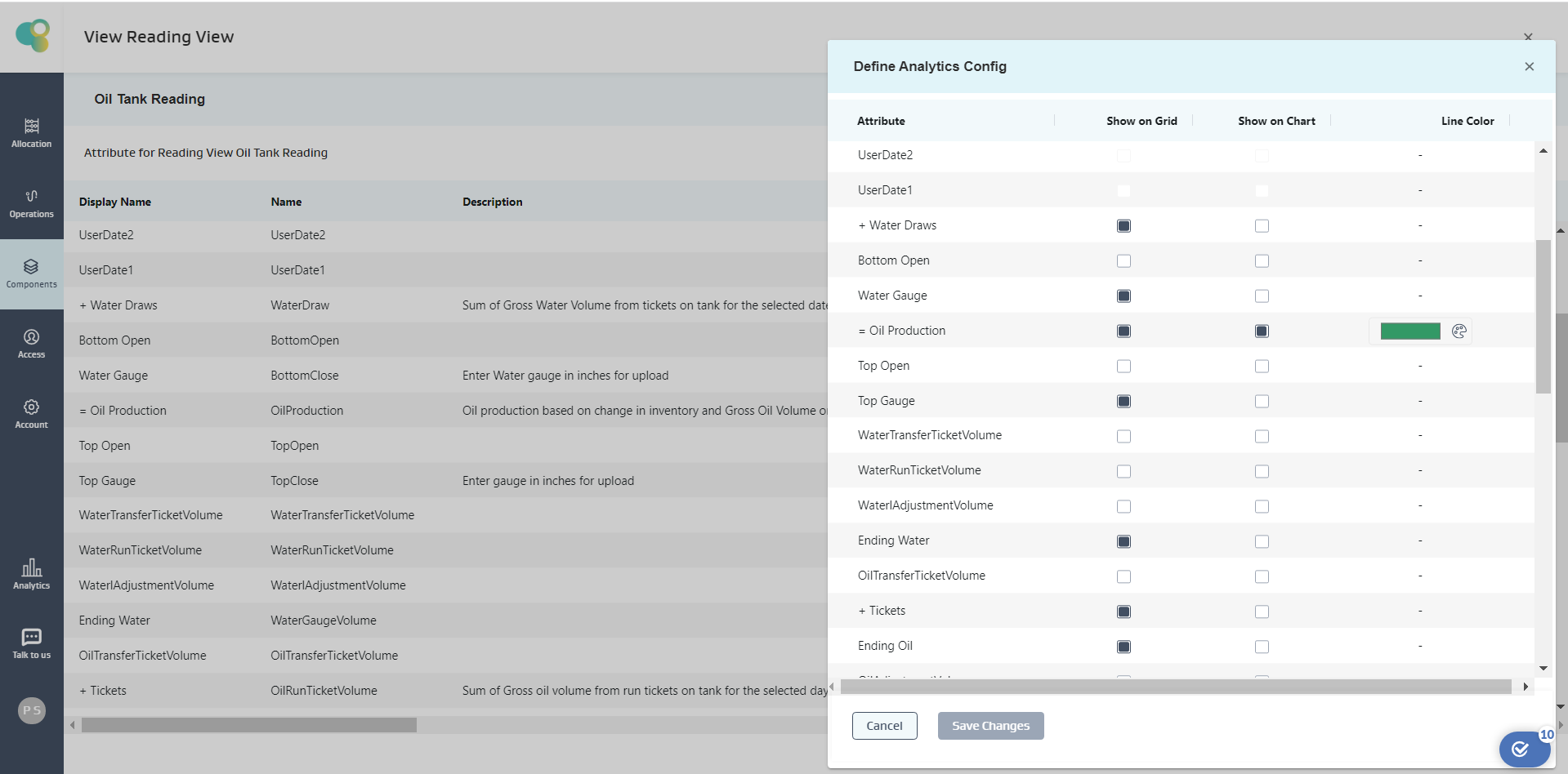 Enable grid and chart views for reading attributes
